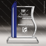 Crystal Blue Accented Rectangle Spire Trophy Award Blue Accented Crystal Awards