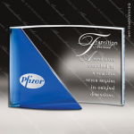 Crystal Blue Accented Rectangle Curve Trophy Award Blue Accented Crystal Awards