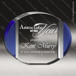 Crystal Blue Accented Oval Trophy Award Blue Accented Crystal Awards