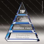 Crystal Blue Accented Triangle Luxor Trophy Award Blue Accented Crystal Awards