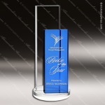 Crystal Blue Accented Rectangle Endeavor Trophy Award Blue Accented Crystal Awards