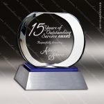 Crystal Blue Accented Circle Celestial Aluminum Base Trophy Award Blue Accented Crystal Awards