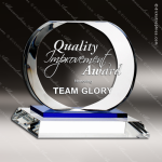 Crystal Blue Accented Circle Celestial  Trophy Award Blue Accented Crystal Awards
