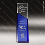 Crystal Blue Accented Angle Tower Trophy Award Blue Accented Crystal Awards