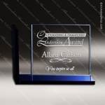 Crystal Blue Accented Avant Rectangle Trophy Award Blue Accented Crystal Awards