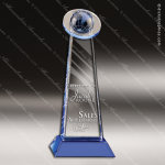 Crystal Blue Accented Globe Orbit Trophy Award Blue Accented Crystal Awards
