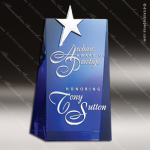 Crystal Blue Accented Star Performer Trophy Award Blue Accented Crystal Awards