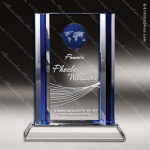 Crystal Blue Accented Bahia Globe Trophy Award Blue Accented Crystal Awards