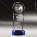 Crystal Blue Accented Atmosphere Globe Trophy Award Blue Accented Crystal Awards