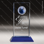Crystal Blue Accented World View Globe Trophy Award Blue Accented Crystal Awards