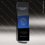 Crystal Blue Accented Three Block Rectangle Trophy Award Blue Accented Crystal Awards