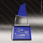 Crystal Blue Accented Mountain Peak Trophy Award Blue Accented Crystal Awards