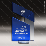 Crystal Blue Accented Flag Peak Sail Trophy Award Blue Accented Crystal Awards