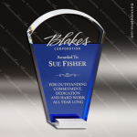 Crystal Blue Accented Fan Trophy Award Blue Accented Crystal Awards
