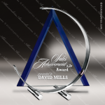 Glass Blue Accented Triangle Blue Persuasion Trophy Award Blue Accented Glass Awards