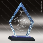 Javelin Arrowhead Glass Blue Accented Diamond Trophy Award Blue Accented Glass Awards