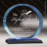 Javelin Oval Glass Blue Accented Round Wreath Edge Trophy Award Blue Accented Glass Awards
