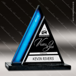 Glass Blue Accented Triangle Azura Peak Trophy Award Blue Accented Glass Awards