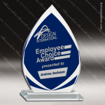 Glass Blue Accented Frosted Arrowhead Flame Series Trophy Award Blue Accented Glass Awards