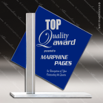 Glass Blue Accented Diamond Sign Series Trophy Award Blue Accented Glass Awards