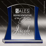 Tangelo Squeeze Glass Blue Accented Rectangle Trophy Award Blue Accented Glass Awards