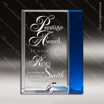 Tangelo Apex Glass Blue Accented Rectangle Trophy Award Blue Accented Glass Awards