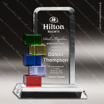 Machover Blocks Glass Blue Accented Art Billboard Trophy Award Blue Accented Glass Awards