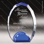 Machover Oval Glass Blue Accented Double Arch Trophy Award Blue Accented Glass Awards