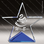 Machover Star Glass Blue Accented Standing Trophy Award Blue Accented Glass Awards