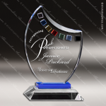 Machover Palette Glass Blue Accented Artist Art Palette Trophy Award Blue Accented Glass Awards