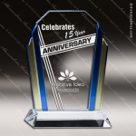 Machover Wedge Glass Blue Accented Tri Color Trophy Award Blue Accented Glass Awards