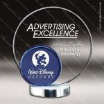 Machover Rising Glass Blue Accented Circle Trophy Award Blue Accented Glass Awards