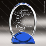 Machover Double Glass Blue Accented Oval Arch Trophy Award Blue Accented Glass Awards