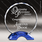 Machover Orbit Glass Blue Accented Circle Double Arch Trophy Award Blue Accented Glass Awards
