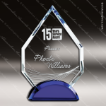 Machover Arrowhead Glass Blue Accented Sapphire Trophy Award Blue Accented Glass Awards