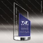 Machover Pillar Glass Blue Accented Rectangle Peak Trophy Award Blue Accented Glass Awards