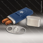 Embossed Etched Leather Cigar Case with Cutter -Blue/Silver Blue Silver Leather Items