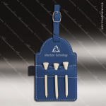 Embossed Etched Leather Golf Bag Tag with Wooden Tees -Blue/Silver Blue Silver Leather Items
