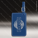Embossed Etched Leather Luggage Tag -Blue/Silver Blue Silver Leather Items