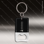 Laser Etched Engraved Keychain Leather Bottle Opener Rectangle Black Gift Bottle Opener Keychains