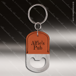 Laser Etched Engraved Keychain Leather Bottle Opener Oval Rawhide Gift Bottle Opener Keychains