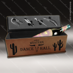 Engraved Etched Leather Wine Tool Set Dark Brown Presentation Box Gift Brown Leather Wine Boxes & Tool Sets