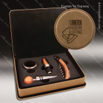 Engraved Etched Leather Wine Tool Set Light Brown 4 Piece Gift Set Awar Brown Leather Wine Boxes & Tool Sets