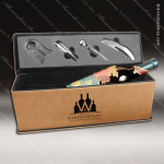 Engraved Etched Leather Wine Tool Set Light Brown Presentation Box Gift Brown Leather Wine Boxes & Tool Sets