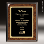 Corporate Burlwood Plaque Pinnacle Edge Black Plate Wall Placard Award Burlwood Piano Finish Plaques