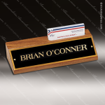 Desk Gift Engraved Walnut Name Plate Desk Wedge with Business Card Holder Business Card Holders