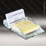 Engraved Glass Business Card Holder Wedge Post It Note Desk Gift Award Business Card Holders