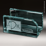 Desk Gift Glass Jade Accented Business Cardholder Trophy Award Business Card Holders