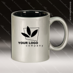 Engraved Ceramic 11 Oz. Round Coffee Mug Silver Laser Etched Gift Ceramic 11 Oz. Round Coffee Mugs