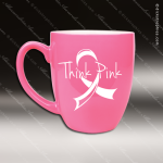 Engraved Ceramic 16 Oz. Bistro Mug Pink Laser Etched Gift Ceramic 16 Oz. Bistro Mugs